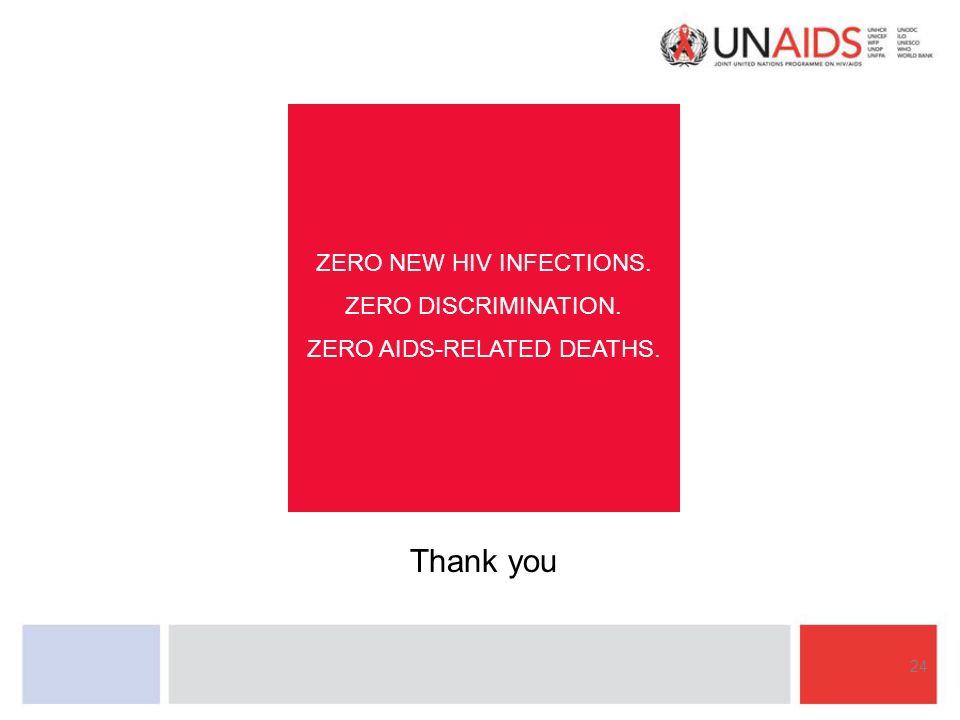 24 ZERO NEW HIV INFECTIONS. ZERO DISCRIMINATION. ZERO AIDS-RELATED DEATHS. Thank you