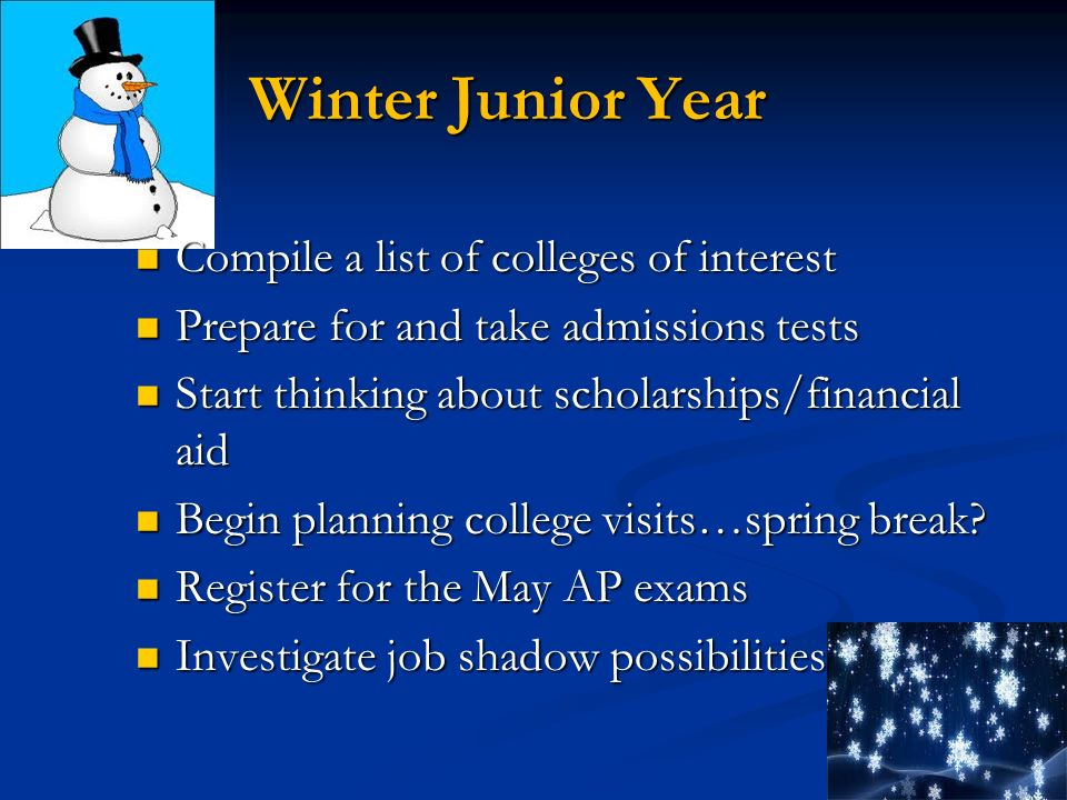 Winter Junior Year Compile a list of colleges of interest Compile a list of colleges of interest Prepare for and take admissions tests Prepare for and take admissions tests Start thinking about scholarships/financial aid Start thinking about scholarships/financial aid Begin planning college visits…spring break.