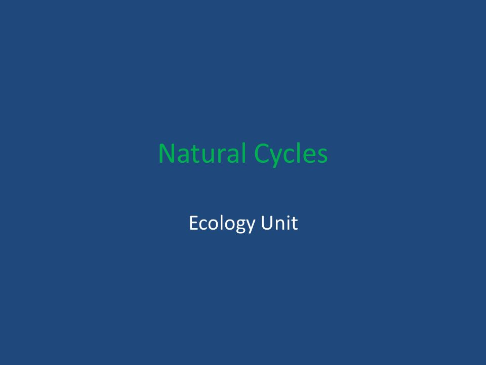 Natural Cycles Ecology Unit