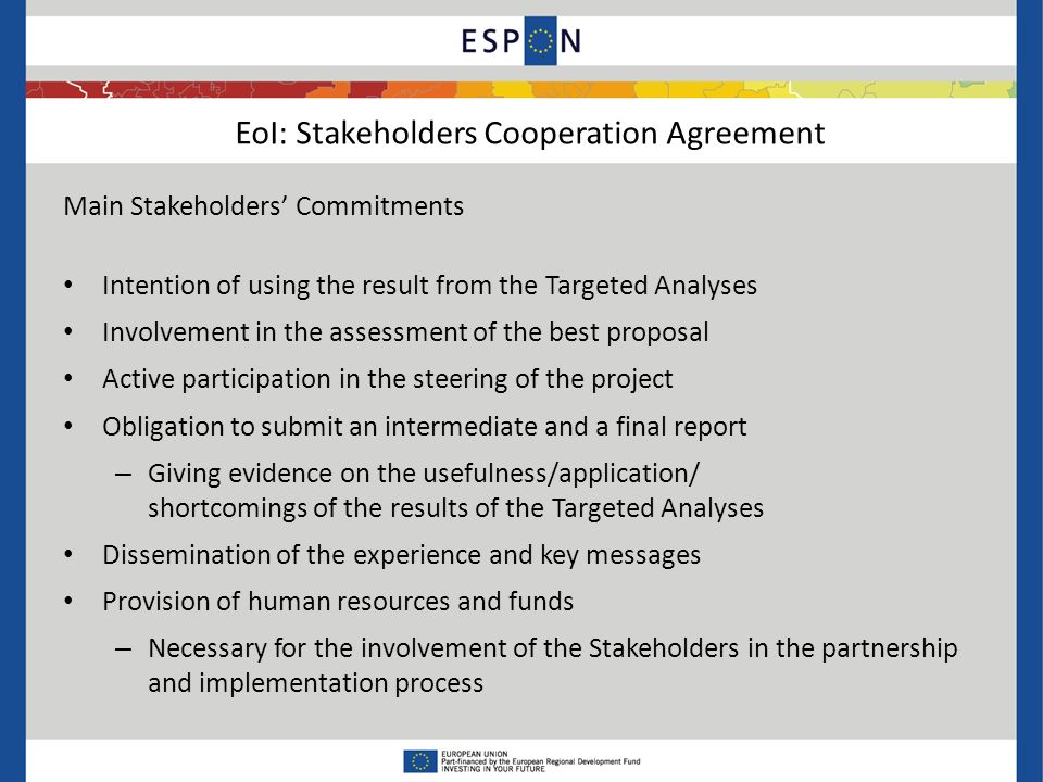 EoI: Stakeholders Cooperation Agreement Main Stakeholders' Commitments Intention of using the result from the Targeted Analyses Involvement in the assessment of the best proposal Active participation in the steering of the project Obligation to submit an intermediate and a final report – Giving evidence on the usefulness/application/ shortcomings of the results of the Targeted Analyses Dissemination of the experience and key messages Provision of human resources and funds – Necessary for the involvement of the Stakeholders in the partnership and implementation process
