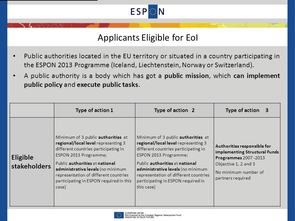 Public authorities located in the EU territory or situated in a country participating in the ESPON 2013 Programme (Iceland, Liechtenstein, Norway or Switzerland).