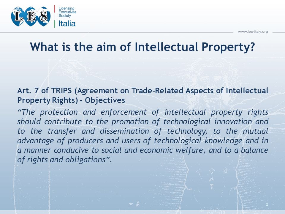 What is the aim of Intellectual Property. Art.