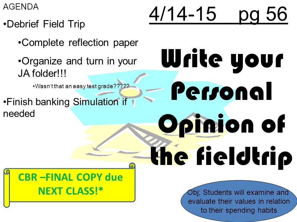 fieldtrip reflection paper