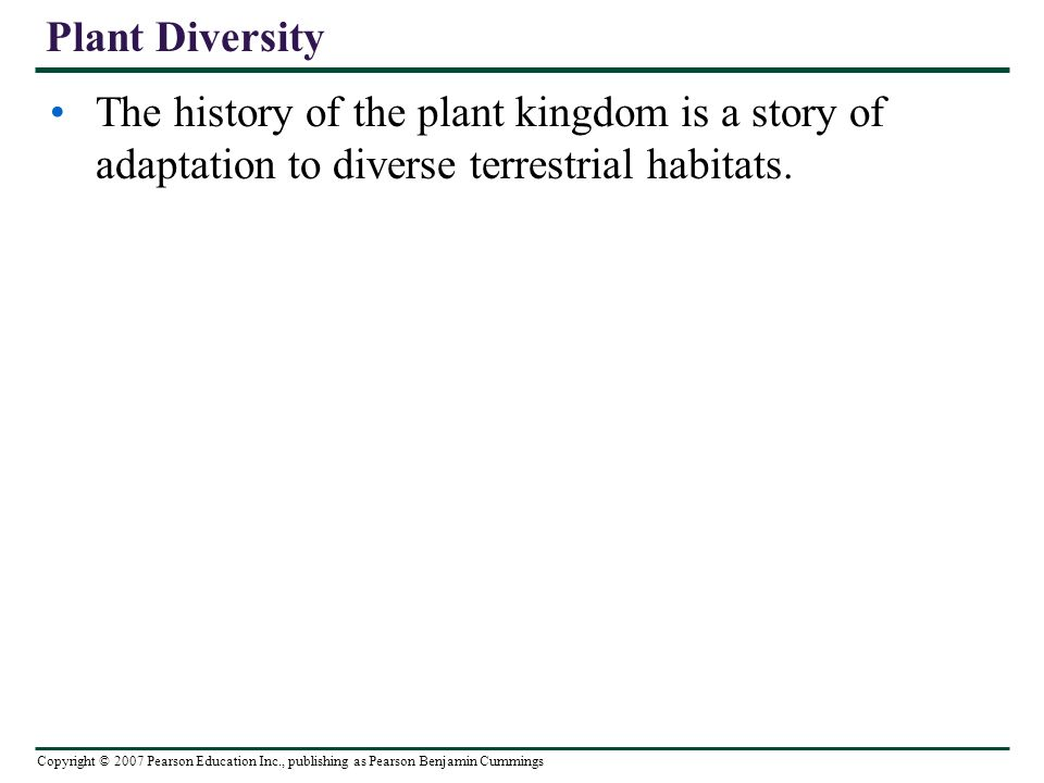 Copyright © 2007 Pearson Education Inc., publishing as Pearson Benjamin Cummings Plant Diversity The history of the plant kingdom is a story of adaptation to diverse terrestrial habitats.