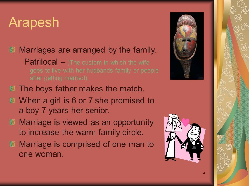 4 Arapesh Marriages are arranged by the family.