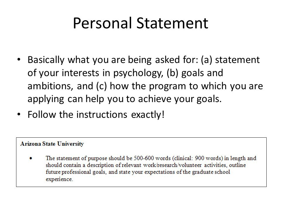 personal essay for psychology When applying to graduate schools, you will be expected to write a statement of purpose, commonly called a personal statement, or personal essay this is a very important part of the application process, and it is your one opportunity to showcase your best qualities and achievements.