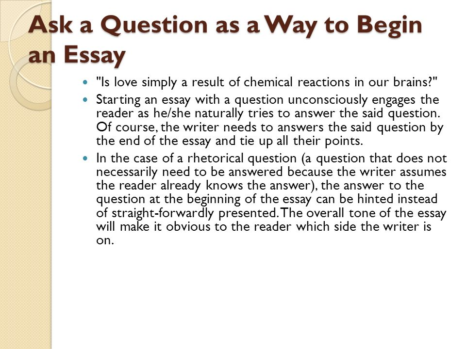 How To Start An Intro To An Essay