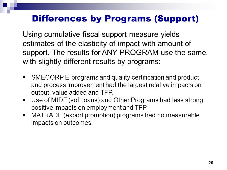 29 Differences by Programs (Support) Using cumulative fiscal support measure yields estimates of the elasticity of impact with amount of support.