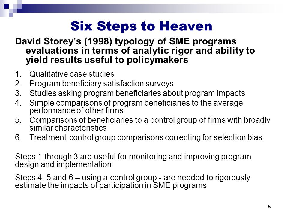 5 Six Steps to Heaven David Storey's (1998) typology of SME programs evaluations in terms of analytic rigor and ability to yield results useful to policymakers 1.Qualitative case studies 2.Program beneficiary satisfaction surveys 3.Studies asking program beneficiaries about program impacts 4.Simple comparisons of program beneficiaries to the average performance of other firms 5.Comparisons of beneficiaries to a control group of firms with broadly similar characteristics 6.Treatment-control group comparisons correcting for selection bias Steps 1 through 3 are useful for monitoring and improving program design and implementation Steps 4, 5 and 6 – using a control group - are needed to rigorously estimate the impacts of participation in SME programs