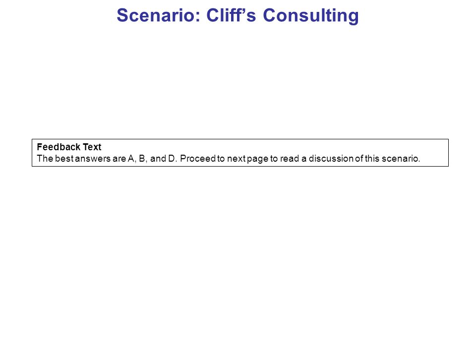 Scenario: Cliff's Consulting Feedback Text The best answers are A, B, and D.