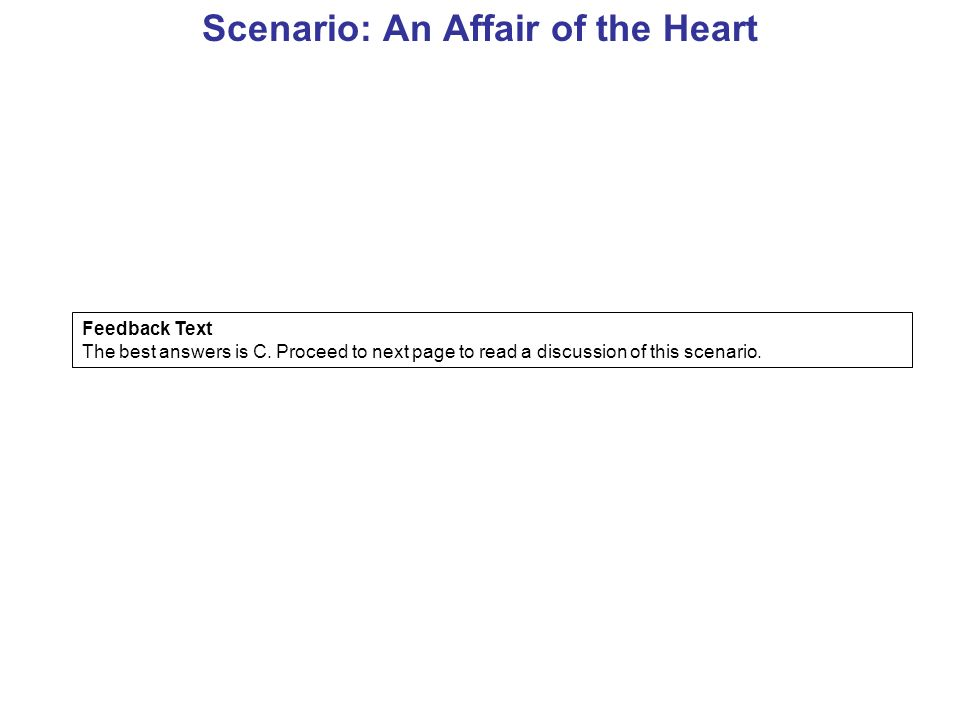 Scenario: An Affair of the Heart Feedback Text The best answers is C.
