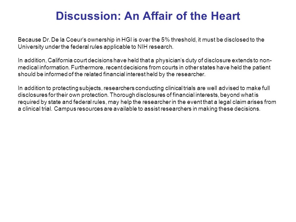 Discussion: An Affair of the Heart Because Dr.
