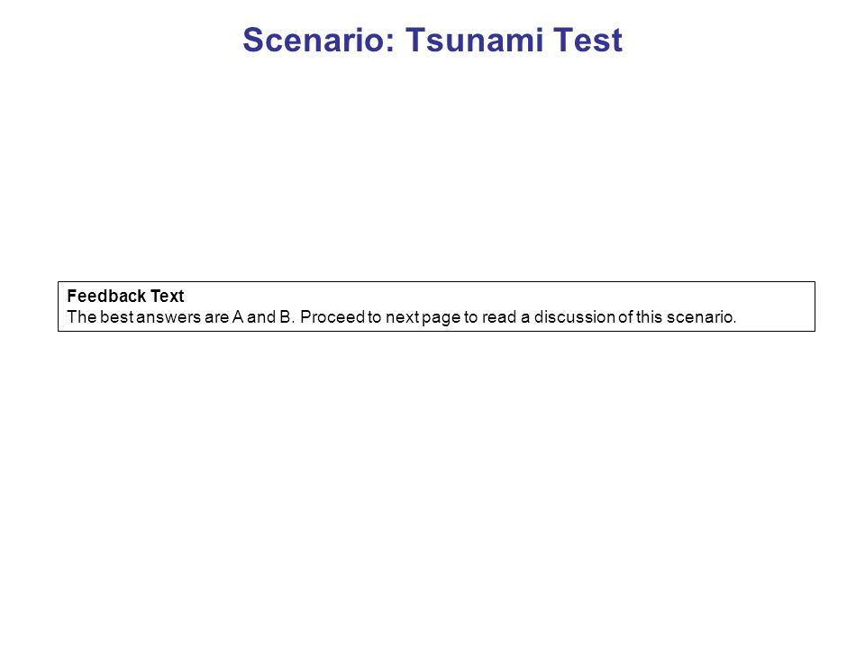 Scenario: Tsunami Test Feedback Text The best answers are A and B.