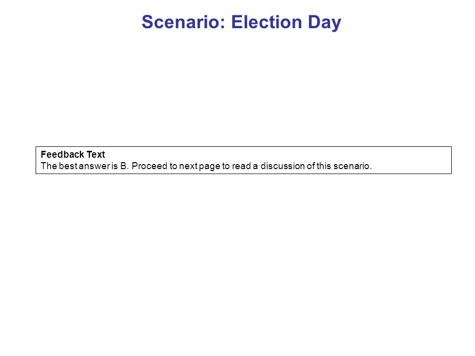 Scenario: Election Day Feedback Text The best answer is B.