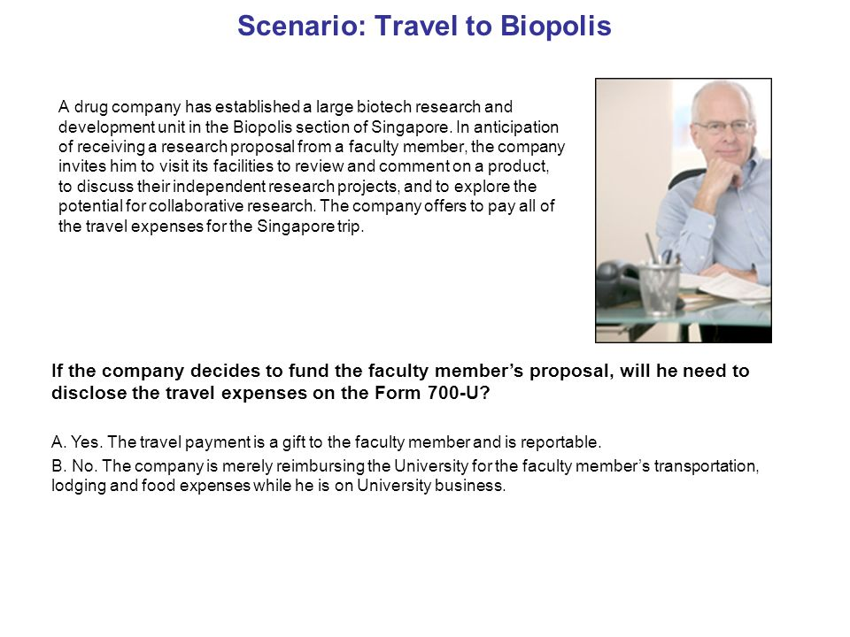 Scenario: Travel to Biopolis A drug company has established a large biotech research and development unit in the Biopolis section of Singapore.
