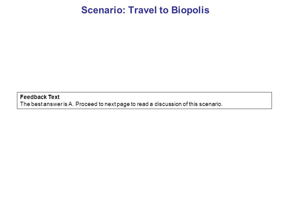 Scenario: Travel to Biopolis Feedback Text The best answer is A.