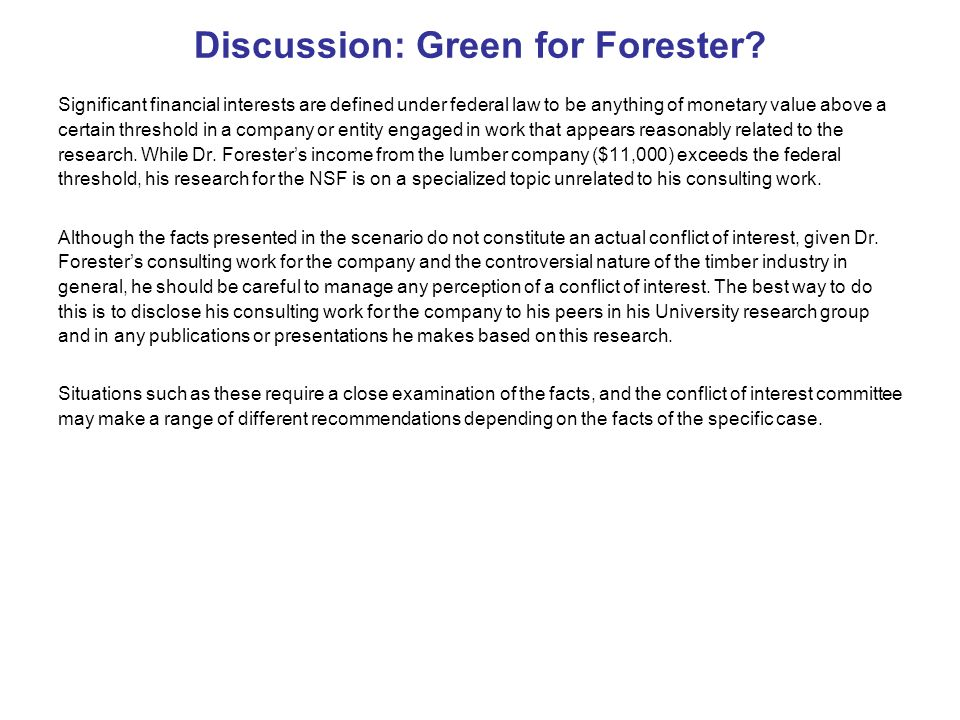 Discussion: Green for Forester.