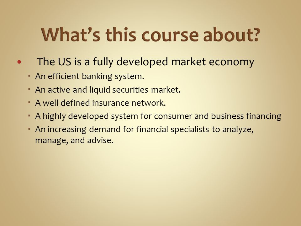 The US is a fully developed market economy  An efficient banking system.