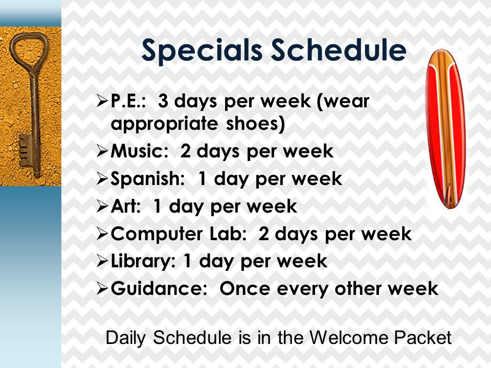 Specials Schedule  P.E.: 3 days per week (wear appropriate shoes)  Music: 2 days per week  Spanish: 1 day per week  Art: 1 day per week  Computer Lab: 2 days per week  Library: 1 day per week  Guidance: Once every other week Daily Schedule is in the Welcome Packet