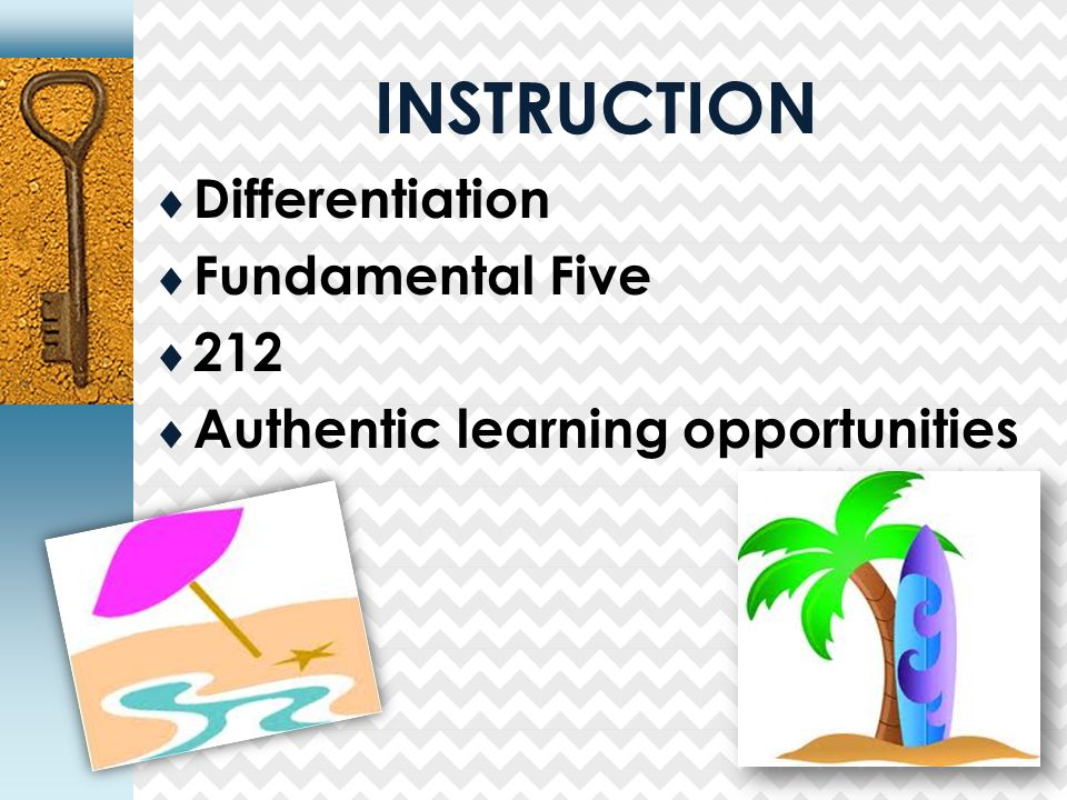 INSTRUCTION  Differentiation  Fundamental Five  212  Authentic learning opportunities