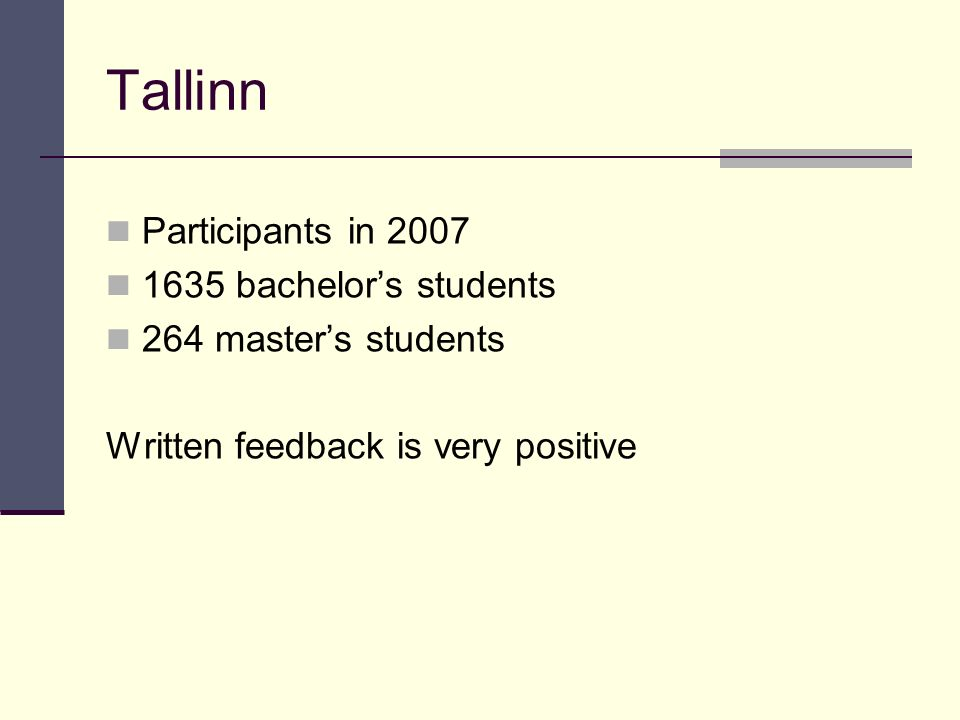 Tallinn Participants in bachelor's students 264 master's students Written feedback is very positive