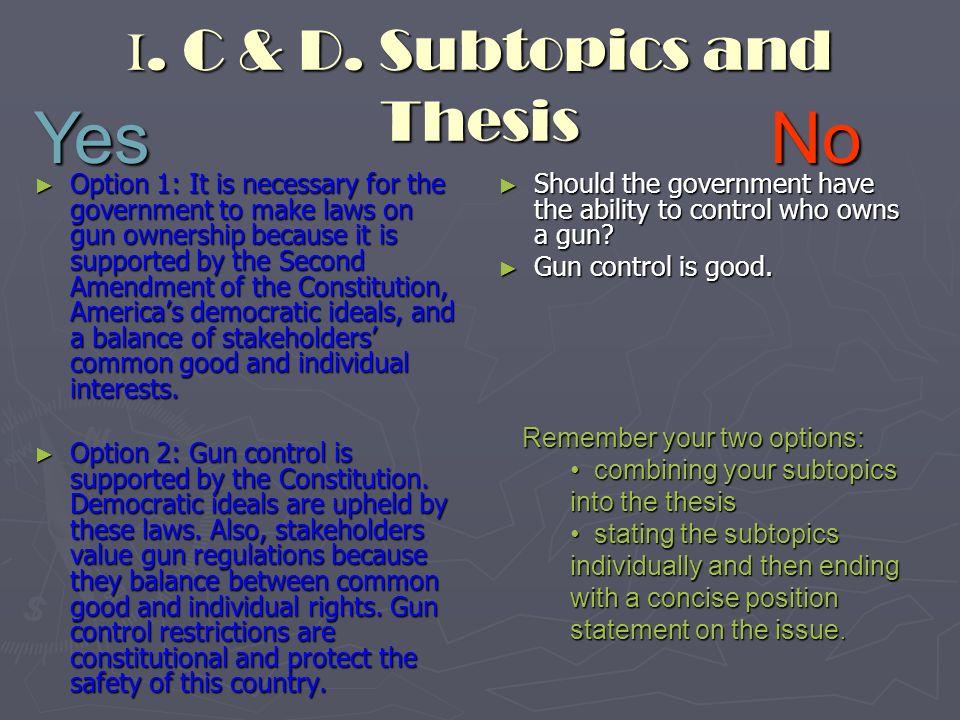 good thesis statement for gun control essay