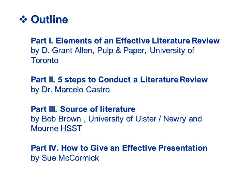 apa style outline for literature review