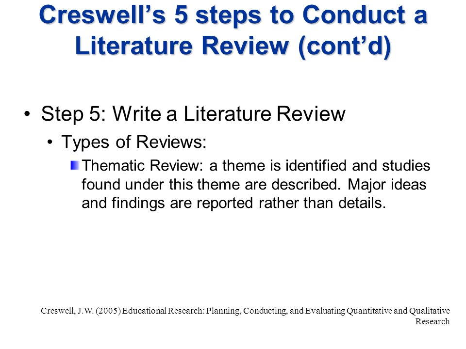 Steps To Write Literature Review