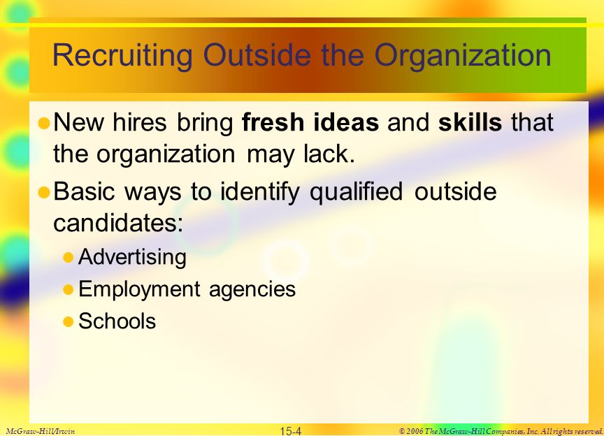 Recruiting Outside the Organization New hires bring fresh ideas and skills that the organization may lack.