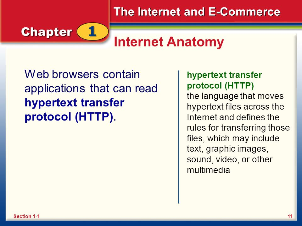 The Internet and E-Commerce Internet Anatomy Web browsers contain applications that can read hypertext transfer protocol (HTTP).