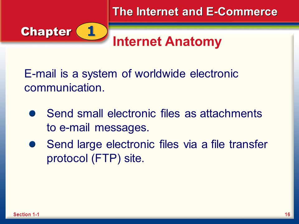 The Internet and E-Commerce Internet Anatomy E-mail is a system of worldwide electronic communication.