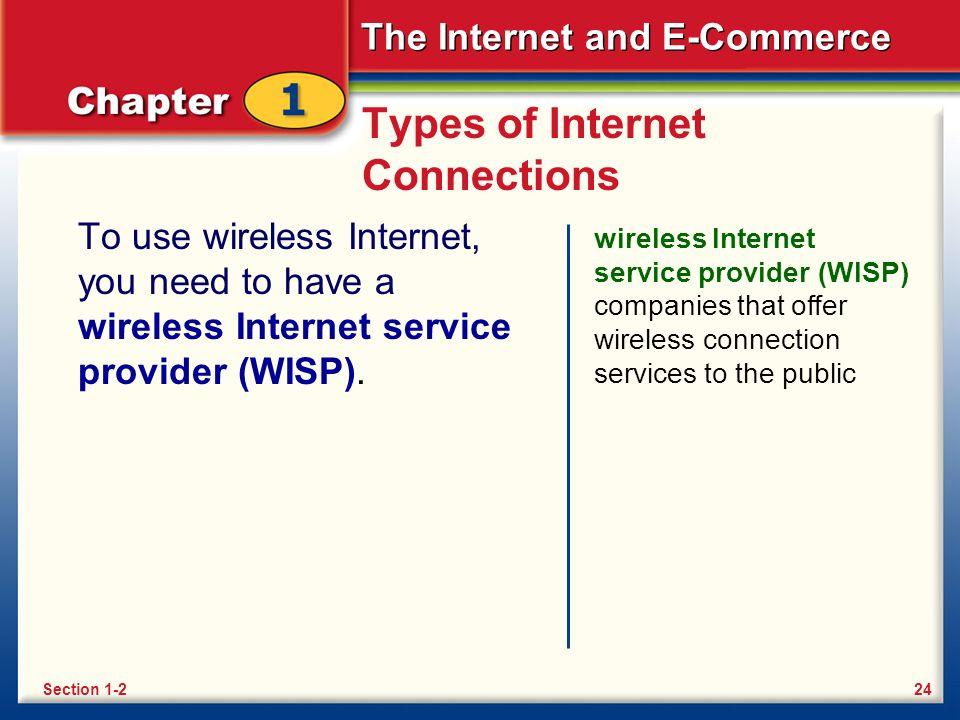 The Internet and E-Commerce Types of Internet Connections To use wireless Internet, you need to have a wireless Internet service provider (WISP).