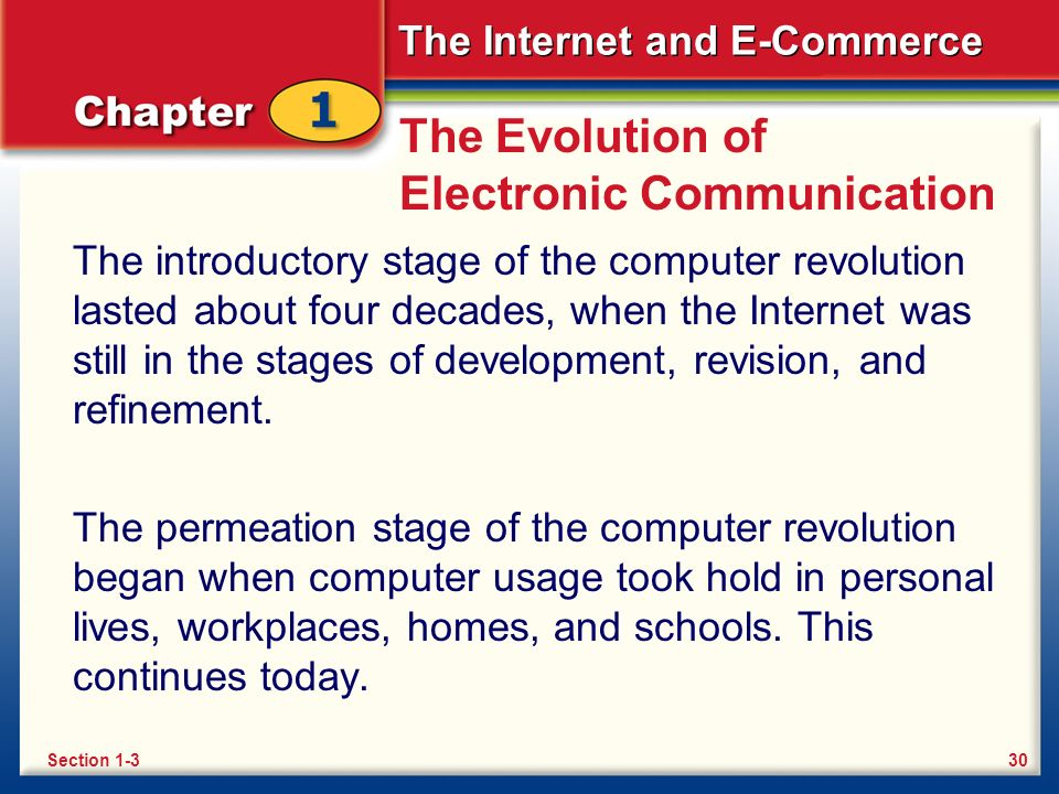 The Internet and E-Commerce The Evolution of Electronic Communication The introductory stage of the computer revolution lasted about four decades, when the Internet was still in the stages of development, revision, and refinement.