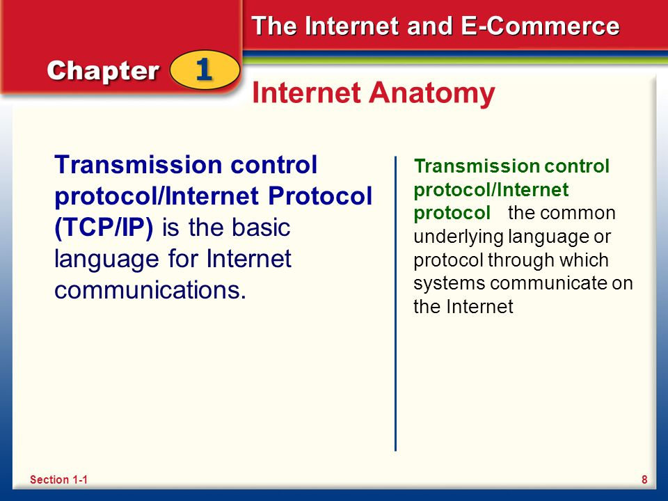 The Internet and E-Commerce Internet Anatomy Transmission control protocol/Internet Protocol (TCP/IP) is the basic language for Internet communications.