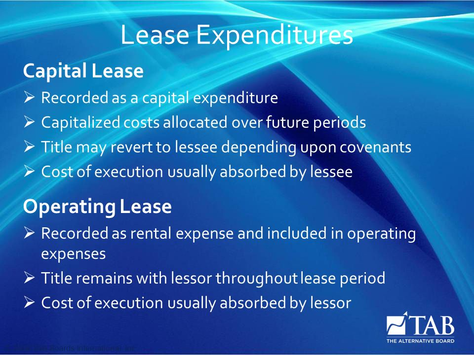 © 2008 TAB Boards International, Inc Lease Expenditures Capital Lease  Recorded as a capital expenditure  Capitalized costs allocated over future periods  Title may revert to lessee depending upon covenants  Cost of execution usually absorbed by lessee Operating Lease  Recorded as rental expense and included in operating expenses  Title remains with lessor throughout lease period  Cost of execution usually absorbed by lessor
