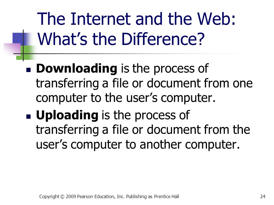 The Internet and the Web: What's the Difference. Copyright © 2009 Pearson Education, Inc.
