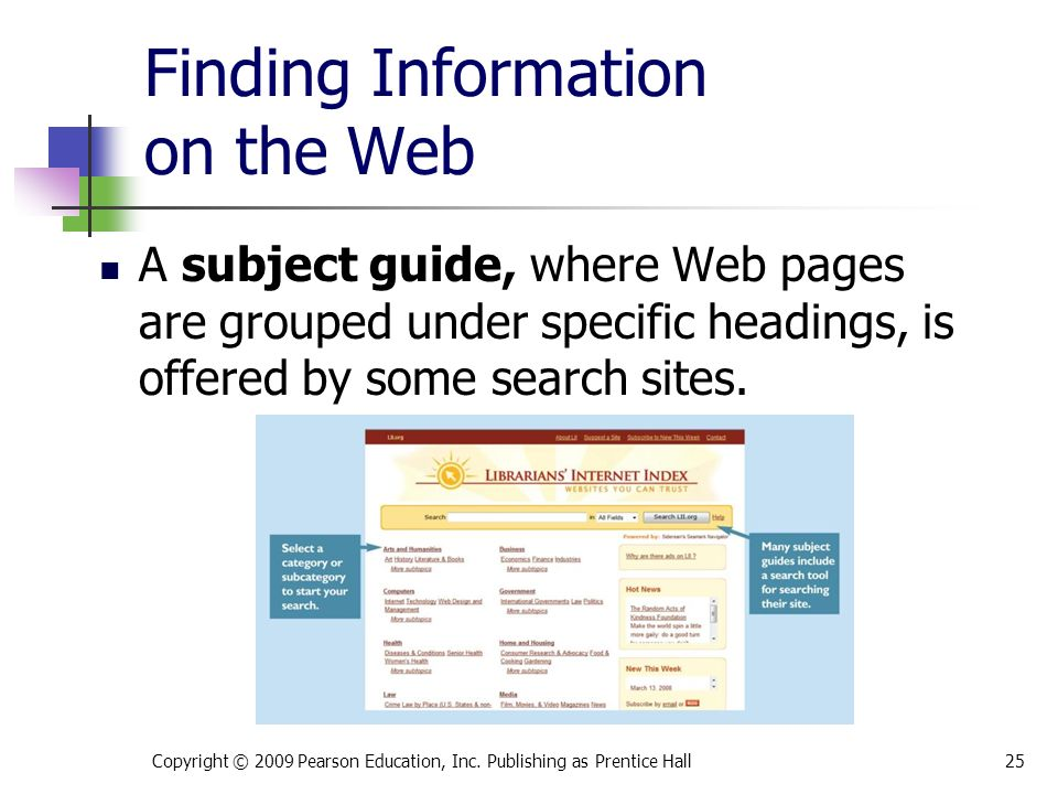 Finding Information on the Web Copyright © 2009 Pearson Education, Inc.