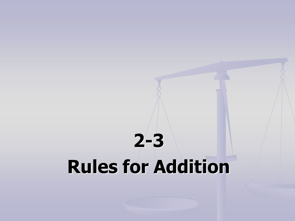 2-3 Rules for Addition
