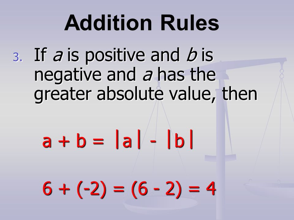 Addition Rules 3.