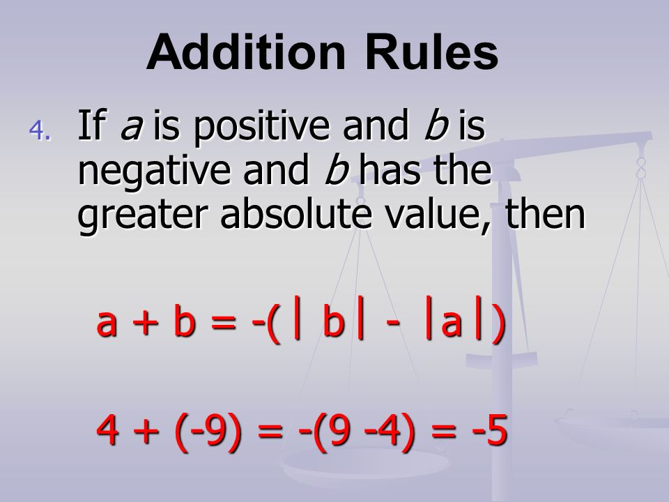 Addition Rules 4.