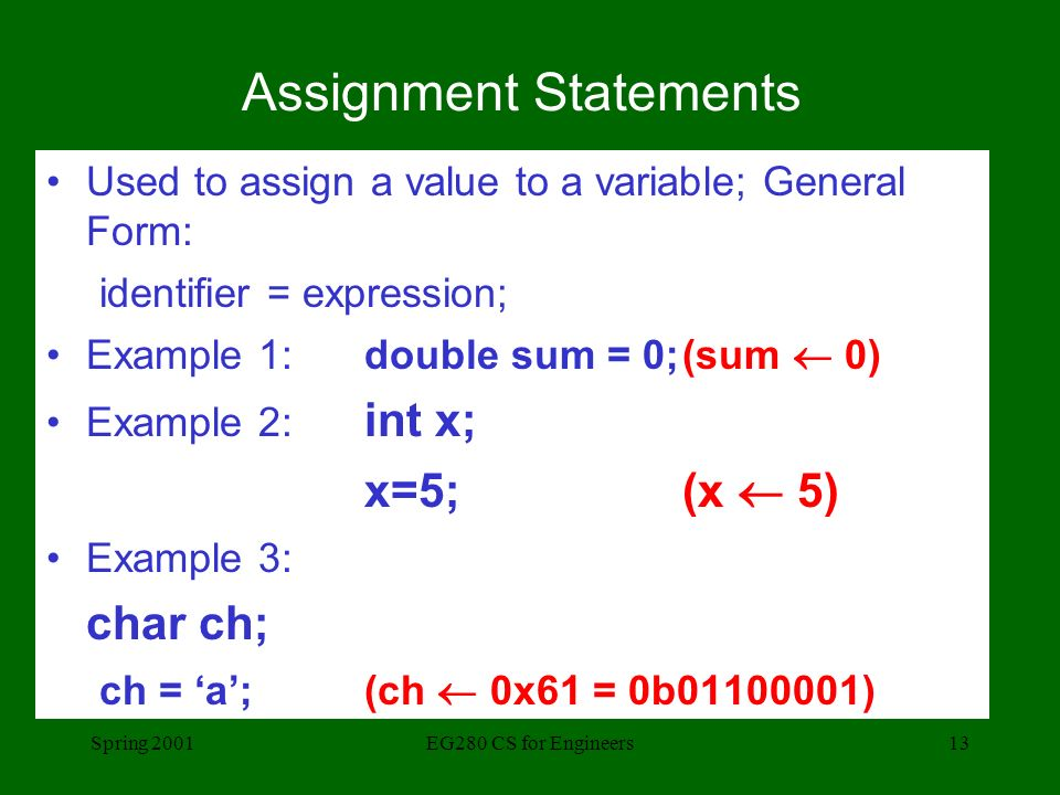 Spring 2001EG280 CS for Engineers13 Assignment Statements Used to assign a value to a variable; General Form: identifier = expression; Example 1: double sum = 0;(sum  0) Example 2: int x; x=5;(x  5) Example 3: char ch; ch = 'a';(ch  0x61 = 0b )