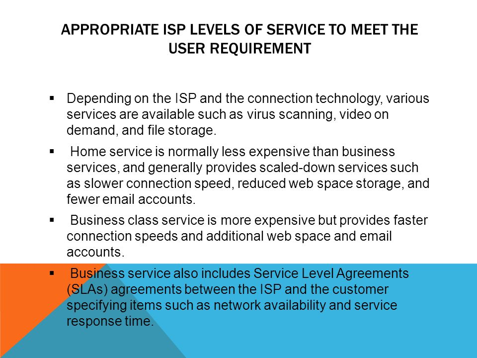 Internet connection through isp nur azureen binti sahabudin appropriate isp levels of service to meet the user requirement depending on the isp and platinumwayz