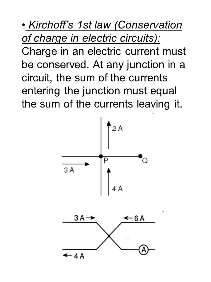 Kirchoff's 1st law (Conservation of charge in electric circuits): Charge in an electric current must be conserved.