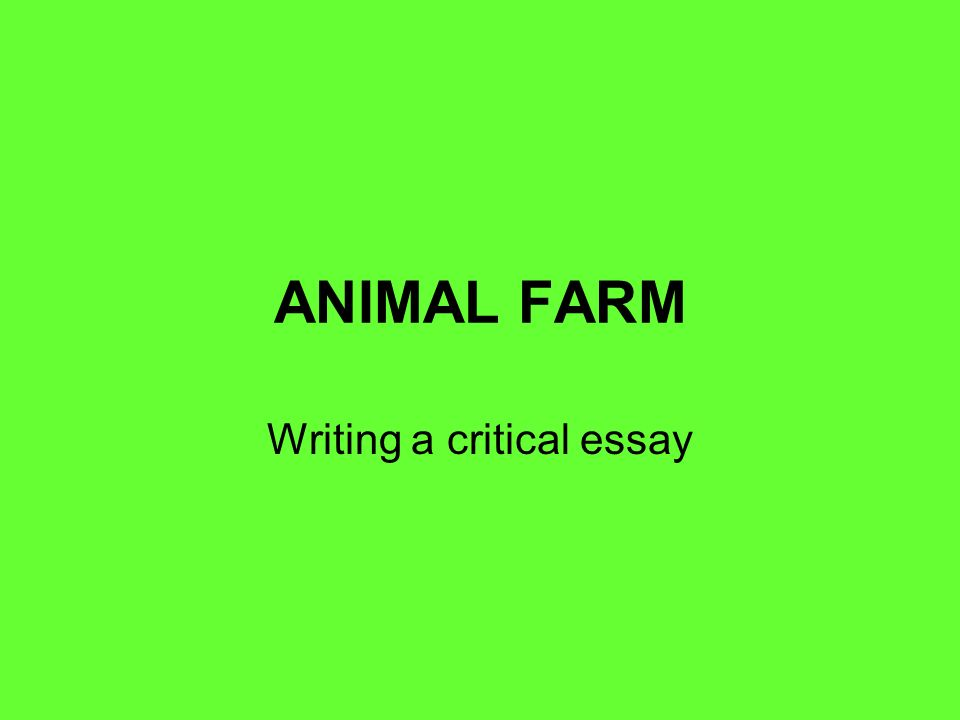 animal farm writing a critical essay question animal farm  1 animal farm writing a critical essay