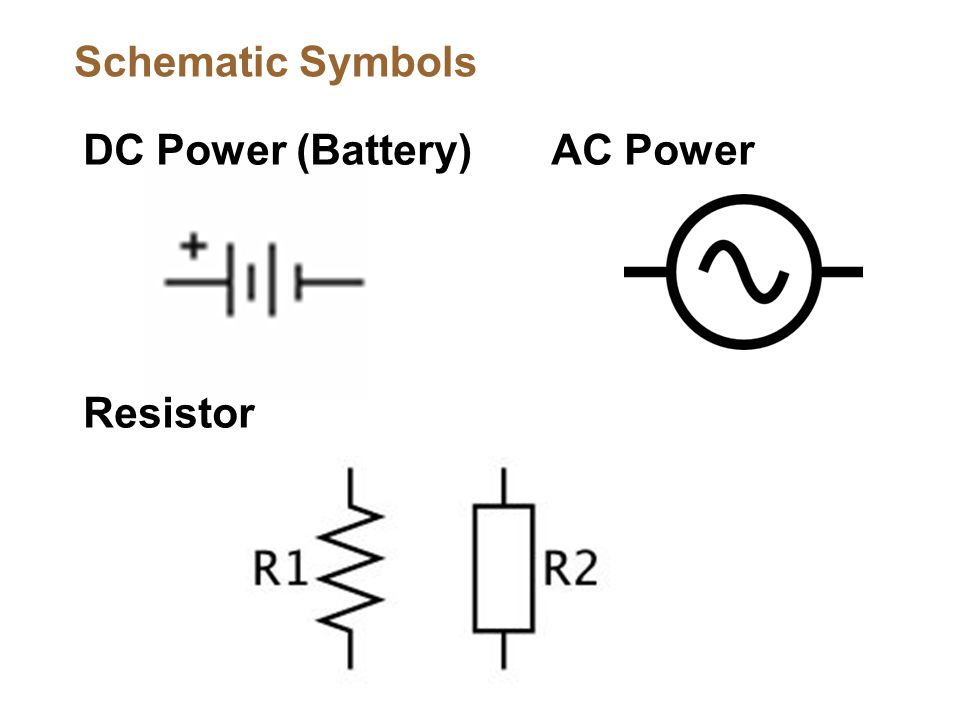 DC Power (Battery) Resistor Schematic Symbols AC Power