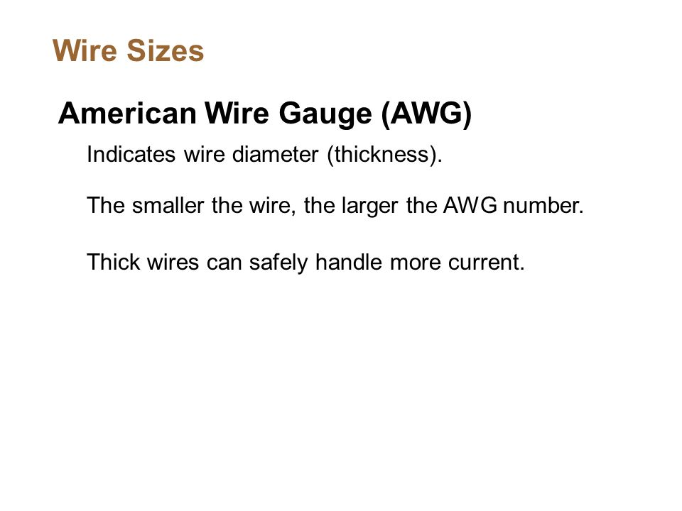 Unit 1 fundamentals electronics electricity study of the flow american wire gauge awg indicates wire diameter thickness keyboard keysfo Choice Image