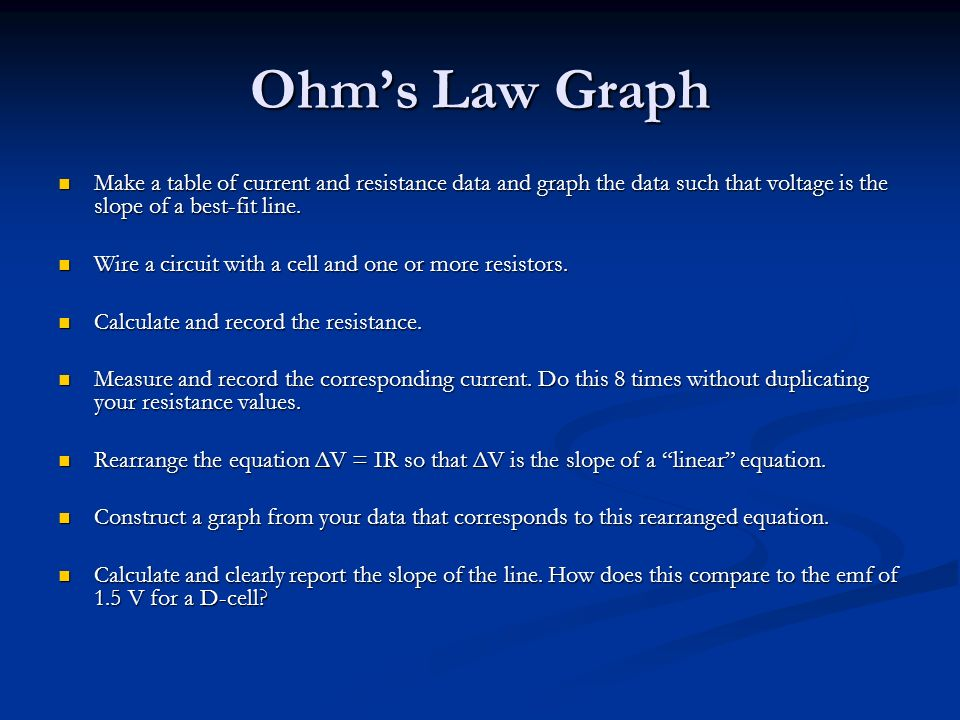 Ohm's Law Graph Make a table of current and resistance data and graph the data such that voltage is the slope of a best-fit line.