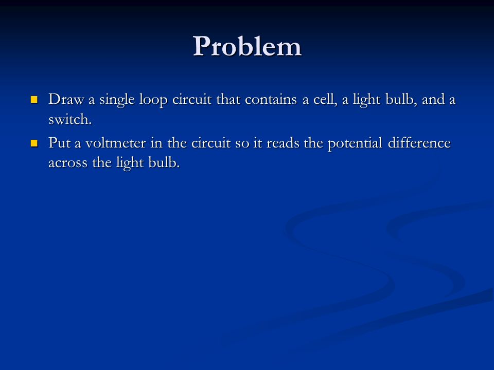 Problem Draw a single loop circuit that contains a cell, a light bulb, and a switch.