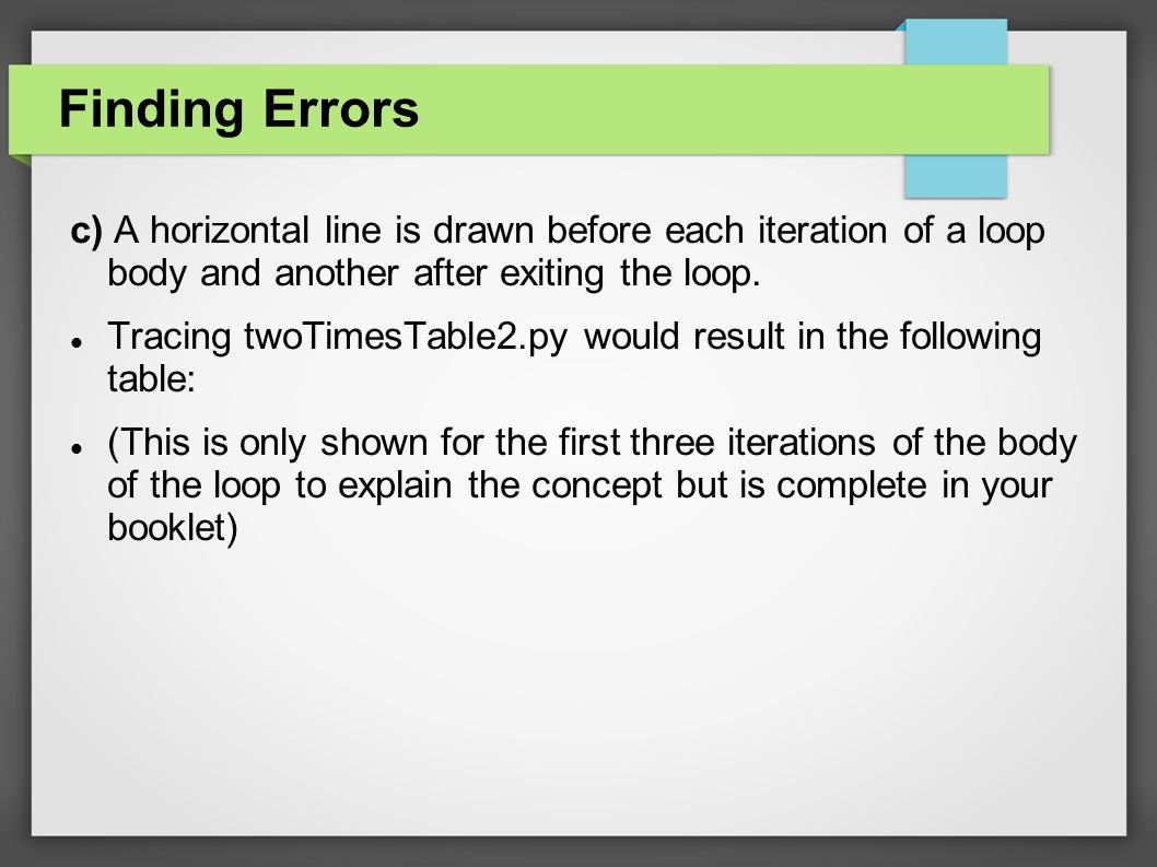 Finding Errors c) A horizontal line is drawn before each iteration of a loop body and another after exiting the loop.