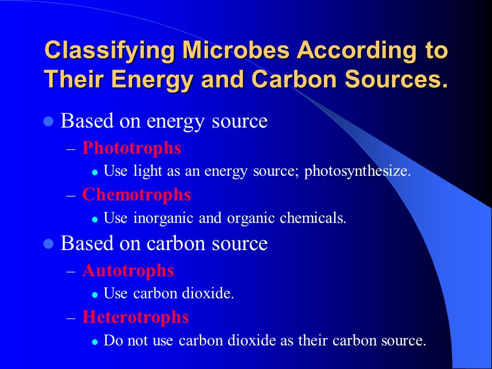 Classifying Microbes According to Their Energy and Carbon Sources.